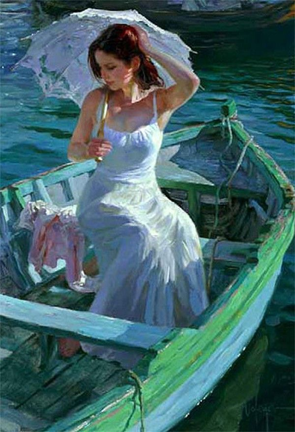 Vladimir Volegov (woman wearing white dress with parasol in boat)