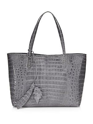 50631e16ea29 Nancy Gonzalez - Erica Crocodile Tote Linen Bag