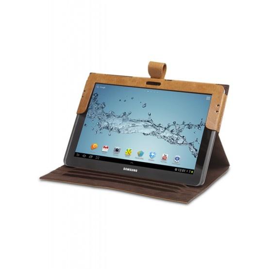 Golden tan leather folio case for Galaxy Tab II 10.1. Price: $90. More information: www.dbramante1928.com.