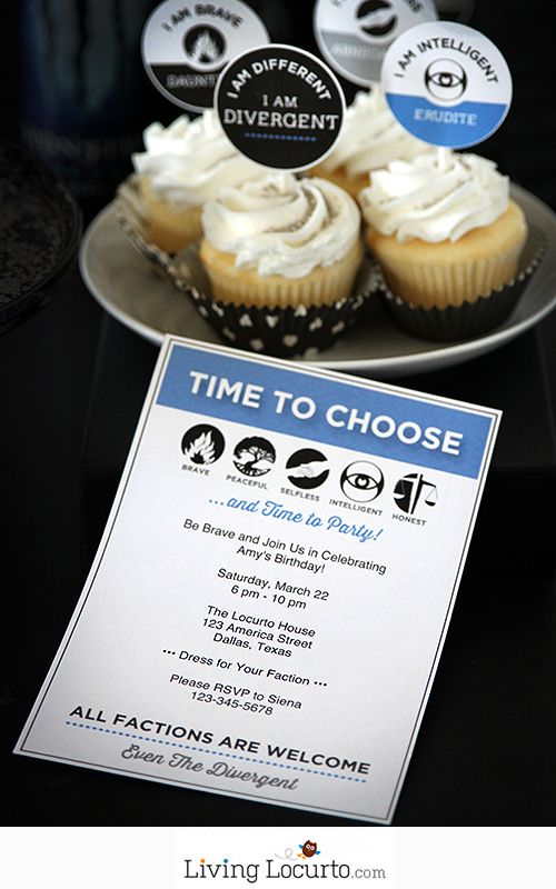 Divergent Party Ideas with Free Printable Invitation, tags and party signs. Perfect for a movie night with friends or Birthday Party. LivingLocurto.com #divergent