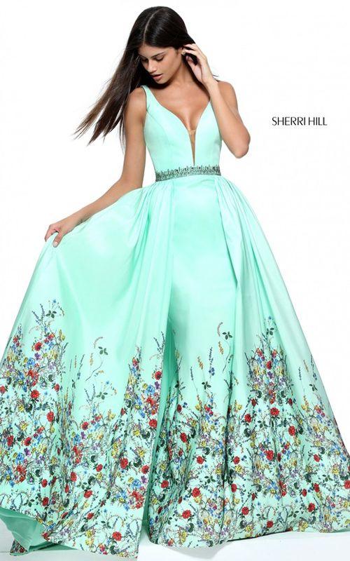 Green Sherri Hill 51232 Print Satin Long Prom Dress