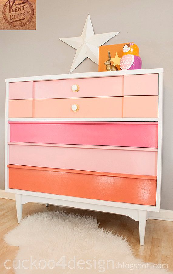 Painted Pink White Coral Midcentury Modern by Cuckoo4DesignStudio, $400.00-- I bet I could diy this for a ton less!