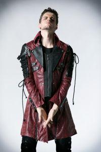 Herren Gothic Steampunk Mantel - black-red