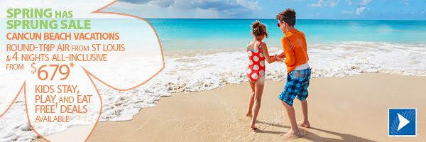 Don't miss out on these great deals.....These package deals include round-trip air from St. Louis to Cancun, hotel, local representative and all taxes. We offer cheap vacation packages and unbeatable deals on all-inclusive resorts, which include all meals and unlimited drinks at one affordable price. www.exhaletravels.co