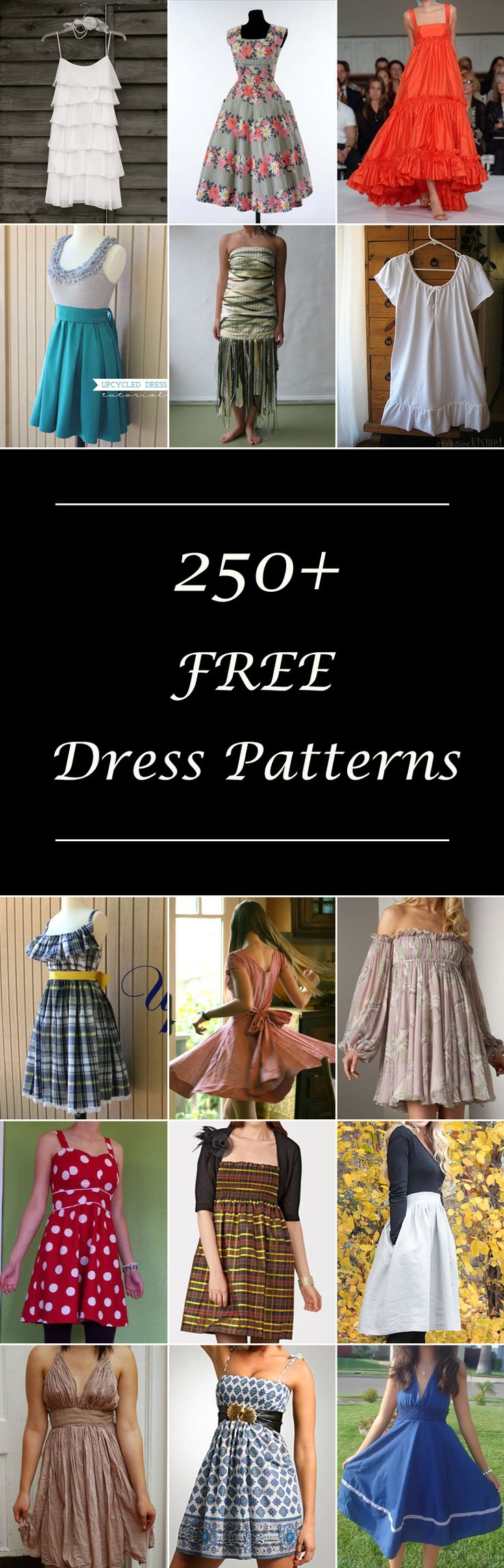 Lots of free women's dress patterns. Diy ideas for dresses, sewing tutorials & projects for women. Many simple & easy styles. Casual and formal. #drees_diy_dress