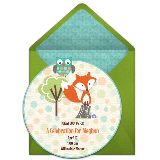 Free baby shower invitations, inspired by the mom-approved brand Boppy®! Adorable baby shower online invitations you can personalize and send via email. We love this cute fox and owl design!
