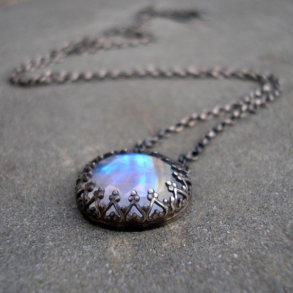 Moonstone  Necklace-  Sterling Silver, Handmade Fire and Ice-ON HOLD