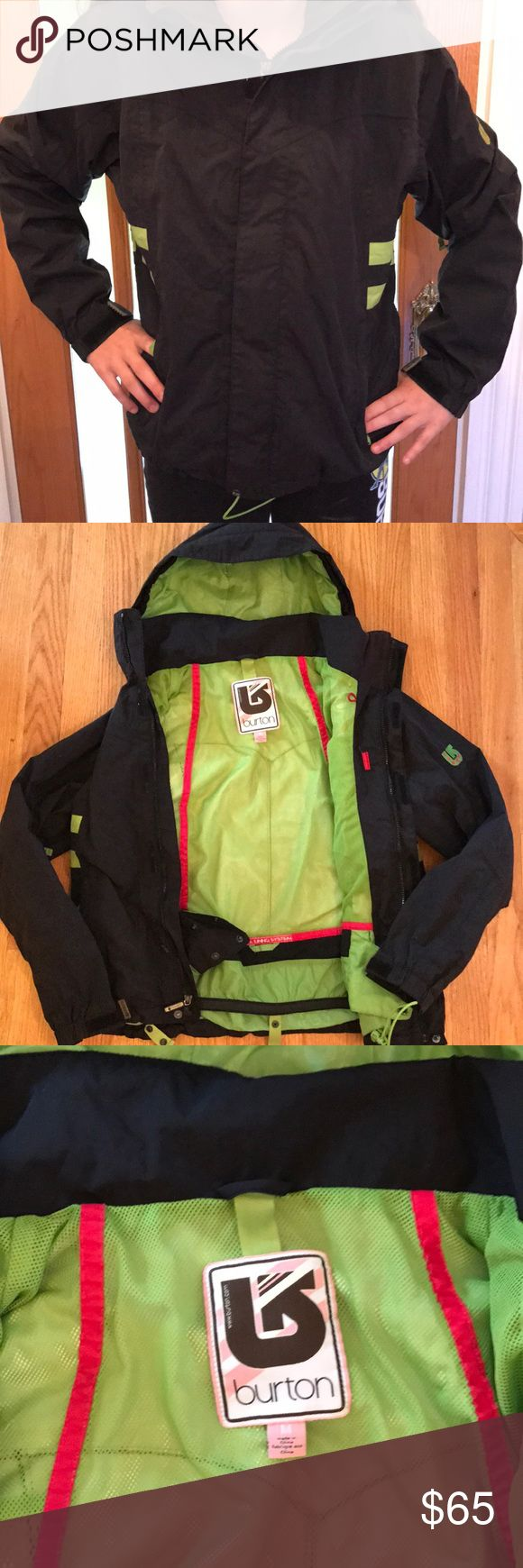 Women's Burton Ski/Snowboard Jacket Women's Burton Ski/Snowboard Jacket. Size Medium. Color is black/with bright green. Outershell is 100% Nylon. Membrane is 100% polyurethane. Great condition. Burton Jackets & Coats