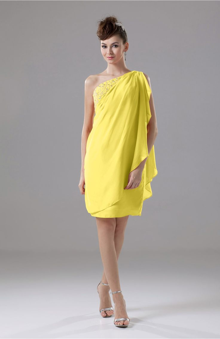 Pale Yellow Cocktail Dress - Cute Sheath Sleeveless Backless Knee Length