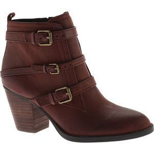 Women's Nine West Fitz Ankle Bootie - Brown Leather Casual