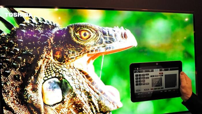 A smart television controlled by a tablet. Smart televisions have been found to have security flaws //