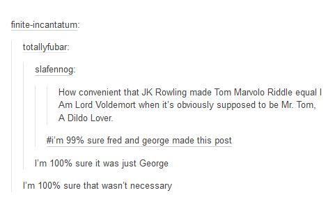 It's honestly a miracle Fred and George didn't call Voldemort this.   21 Funny Harry Potter Tumblr Posts To Make You Feel Better