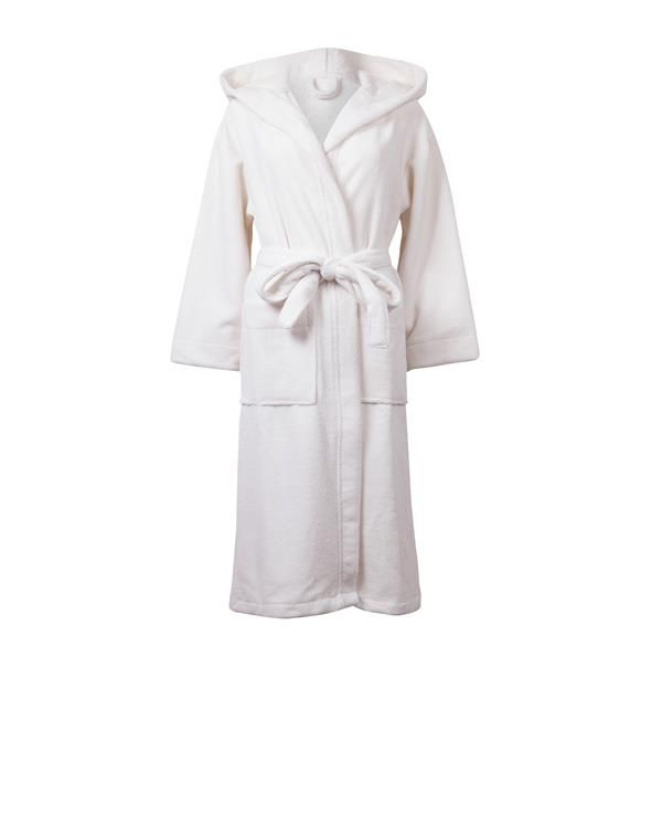 Cream Velour Towelling Hooded Long Robe  Snuggle up this winter in our long sleeve, calf length Velour Towelling Hooded Long Robe with detachable waist belt. Twin pockets are provided in the front for added convenience  90% Cotton, 10% Polyester