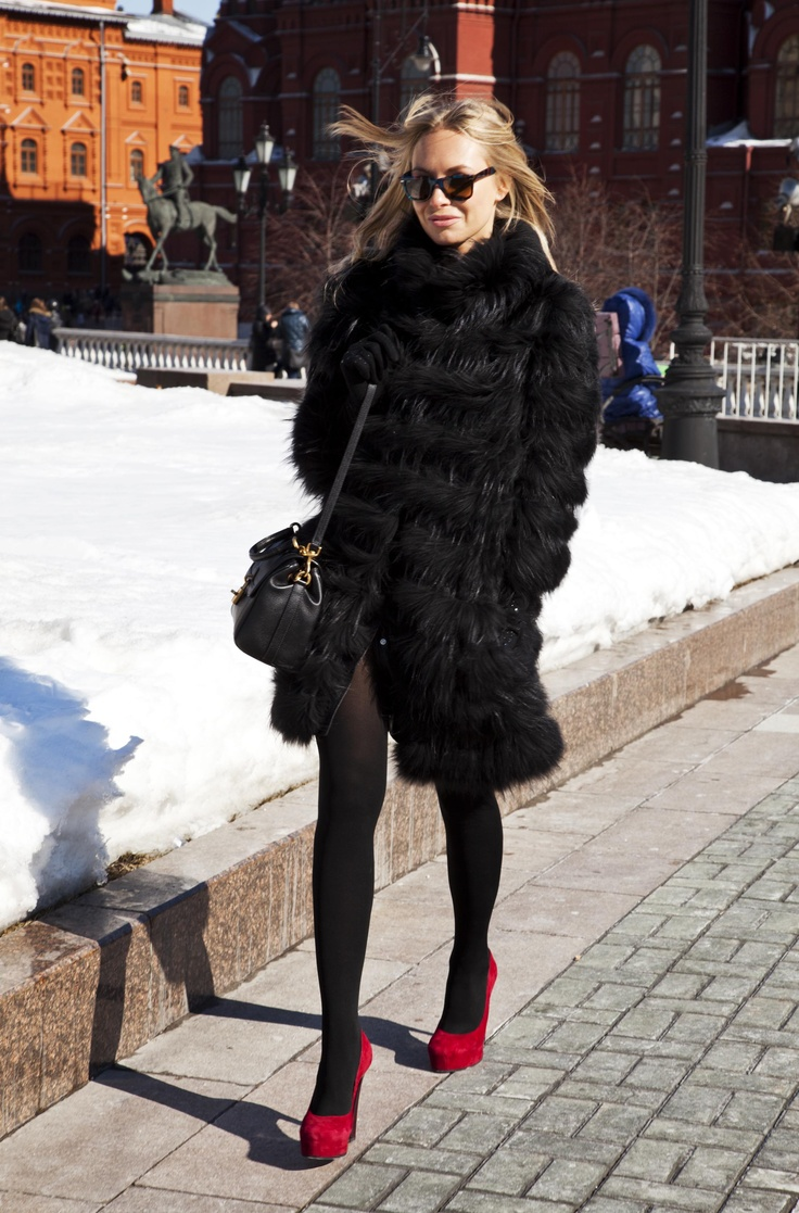 fur coat  red shoes TJ Collection