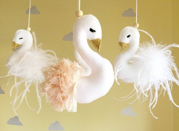 Baby mobile- swan mobile- cot mobile- baby girl mobile- nursery mobile- swan mobile- crib mobile -Swan nursery mobile- FREE SHIPPING ~~~ This gorgeous hand made swan mobile will bring a whole new level of adorable to your nursery! Featuring four swans, two are adorned with luxurious ostrich feathers and another two swans in pastel peach and an sweet ivory bow. This mobile will be the perfect centrepiece for your nursery, a lovely family heirloom or a beautiful gift for a Mama to be! The T...