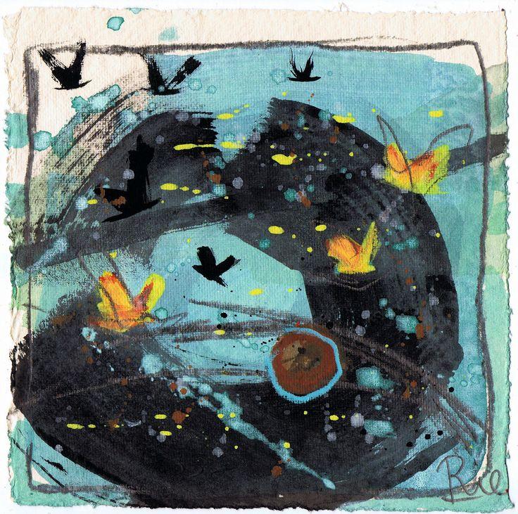 TRÆKFUGLE se hjemmesiden - der flyver de allesammen under 'Gallery'/ works on paper..... www.annemariejohansen.dk Trækfuglene finder nye ruter... og flugtruter... Men de vender altid hjem igen ❤️