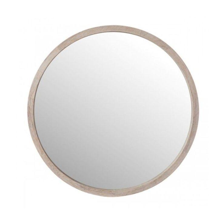 Miroir Rond en Bois Blanchi – Diamètre 60cm