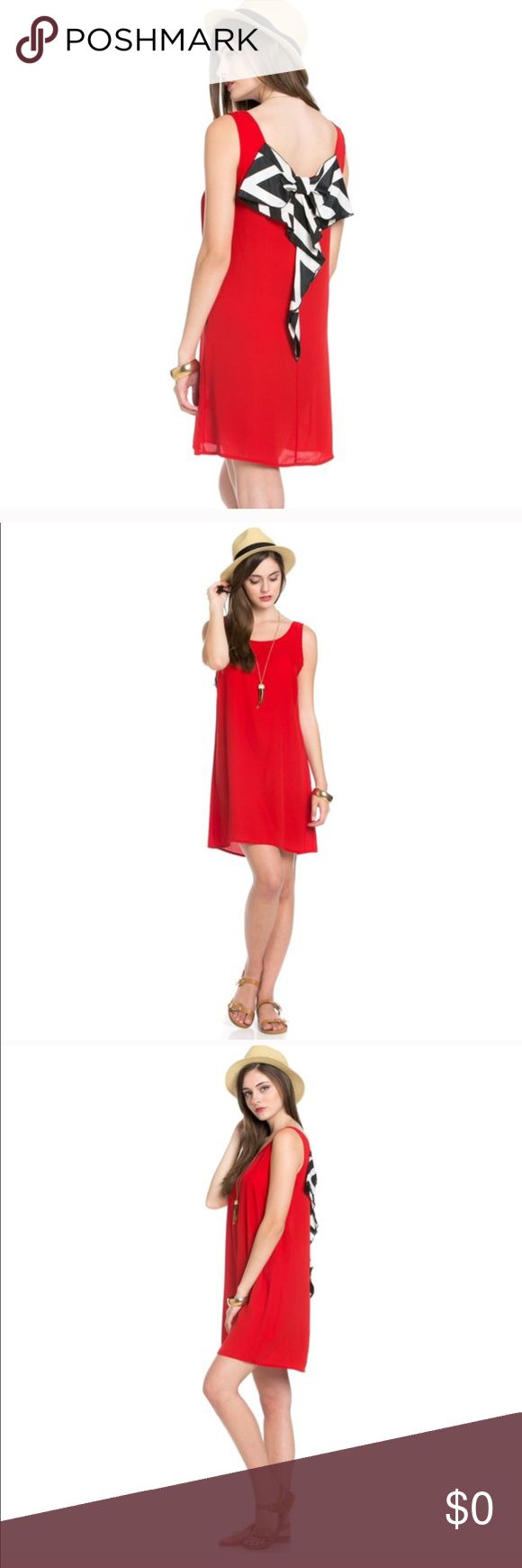 COMING SOON Please add a comment to get notify once we receive this dress. Beautiful red tunic dress with a stripe bow in the back. 100 % Polyester and is made in USA  sizes available S,M,L Dresses Maxi
