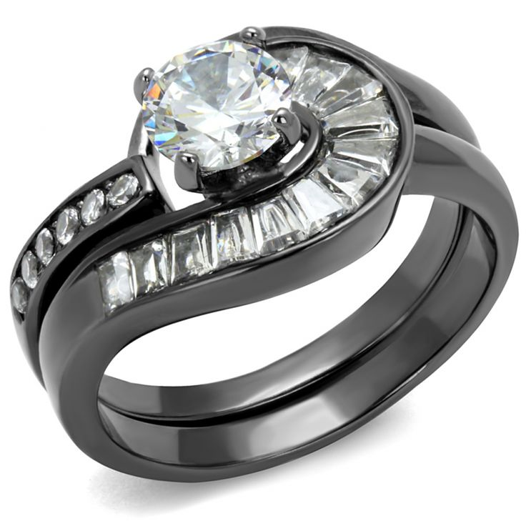 Dark Grey Ion Plated Stainless Steel Clear AAA CZ Womens Wedding Ring Set