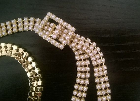 Chic and Stylish Faux Pearl on Gold Metal Belt Vintage