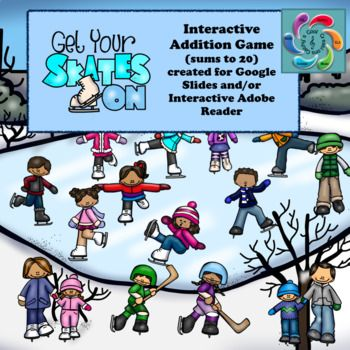 Get Your Skates On is an interactive winter themed math game designed for both Google Slides and Adobe Reader (PDF). It allows students go on a virtual adventure visiting an outdoor skating scene to help the children with practicing their addition skills and provide teachers an opportunity to assess students in the process.