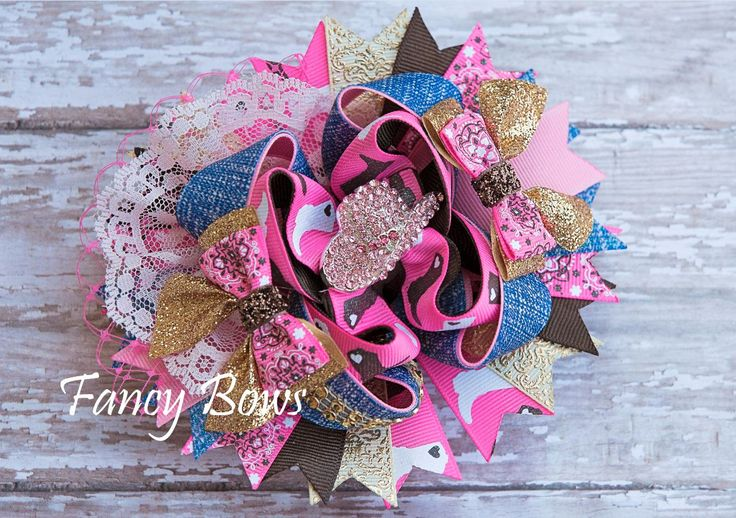 Cowgirl hair bow. Country girl. https://www.facebook.com/TheFancyBows?ref_type=bookmark