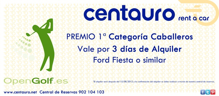 Centauro rent a car sponsoring the 1st Opengolf Noticias Tournament which takes place on the 28th July in the Font del Llop Golf Resort (Alicante).  Centauro will offer a prize to the winners of the three male categories.  Opengolf and Centauro have joined forces in order to make this first tournament known throughout Spain.