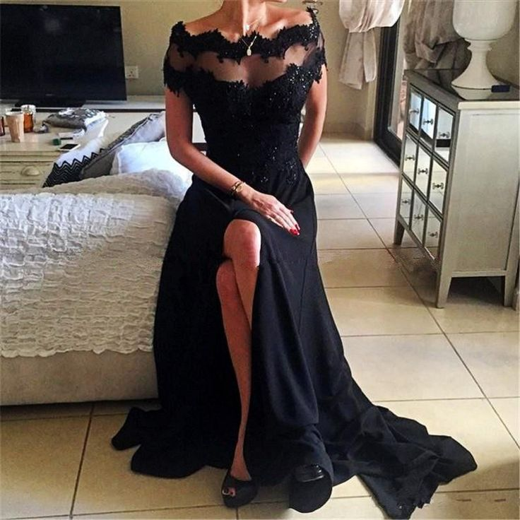 Find More Prom Dresses Information about Black Lace Prom Dresses Leg Slits Sheer Neck Off The Shoulder Formal Evening Gowns Split Side Sequins Short Sleeves Party Dress ,High Quality dress australia,China dress shoes size 5 Suppliers, Cheap dress up dress from only true love topseller Store on Aliexpress.com