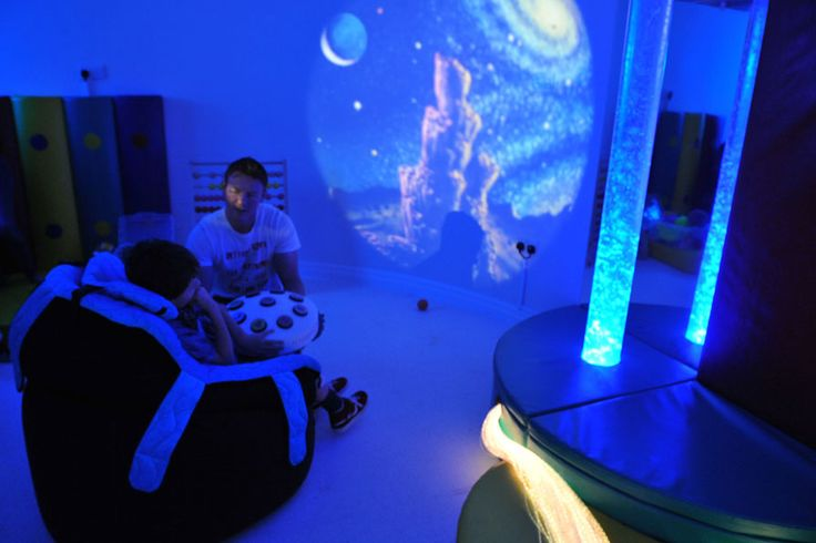 A cool blue sensory room