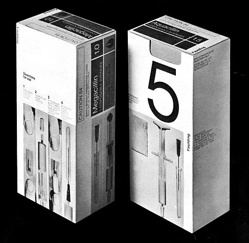 Brian Sadgrove - Megacillin syringe packaging (1970s) / http://www.recollection.com.au