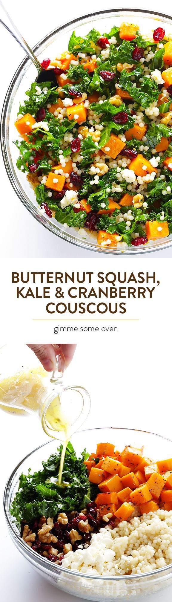 This Roasted Butternut Squash, Kale & Cranberry Couscous is simple to make, seasonal, and so hearty and delicious! | gimmesomeoven.com