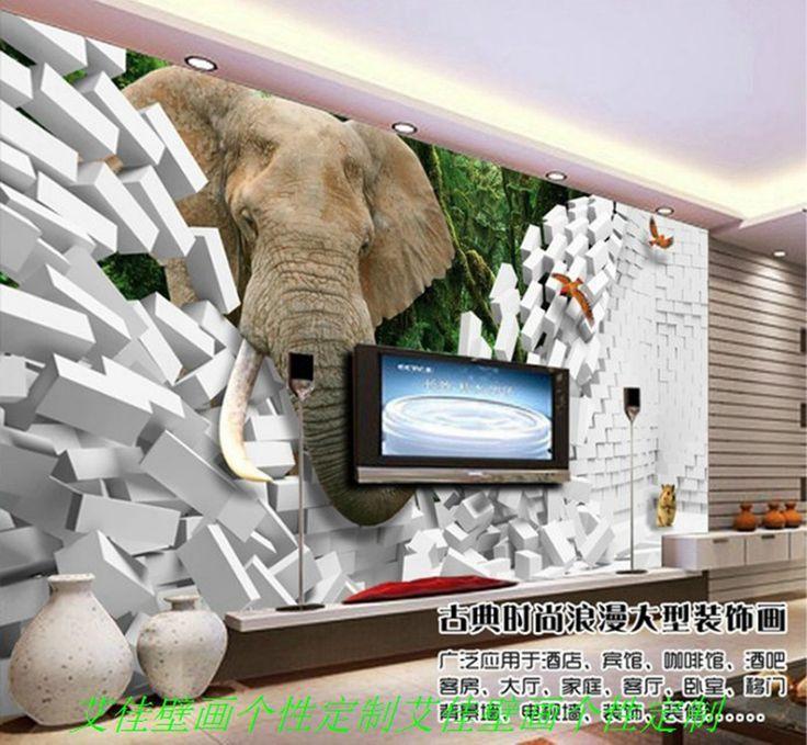 Frete grátis toda a pintura mural da parede estéreo perfeita elefante 3D cartaz promocional correio saco TV fundo sala sofá wallpa(China (Mainland))