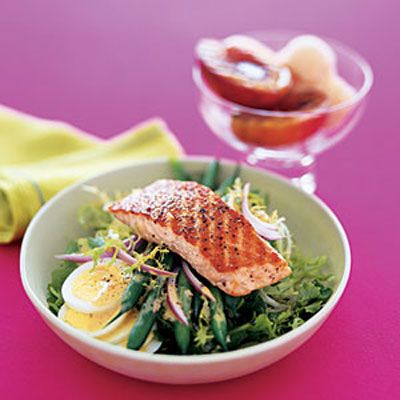 Salmon Salad With Vinaigrette    This French salad uses green beans, hard-boiled eggs, and a tangy vinaigrette to provide delicious complements to the grilled salmon for less than 300 calories.