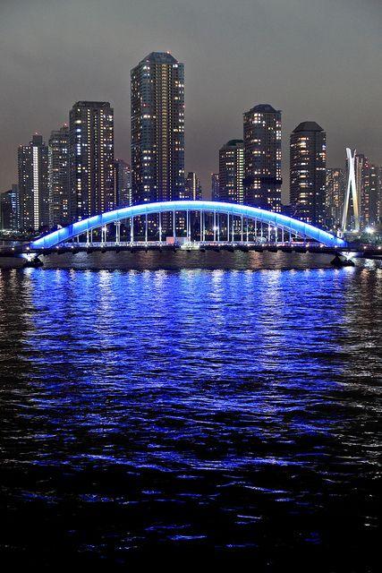 Tokyo, Japan: Japan Tokyo, Blue Arch, Beautiful Places, Travel Japan, City 21, Eitai Bashi Bridge, City Lights, Bridges
