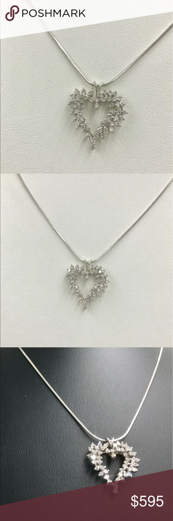 Beautiful heart diamond pendant, over a carat. Beautiful with lots of sparkle, this heart pendant makes a perfect gift, or just treat yourself! This can be worn every day, whether in jeans or a cocktail dress. Approximately a carat and a half of SI clarity G-H color diamonds. Jewelry Necklaces