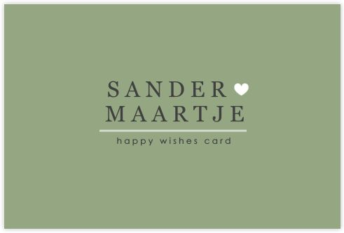 HAPPY WISHES CARD MET LEGERGROEN EN MODERNE TYPOGRAFIE