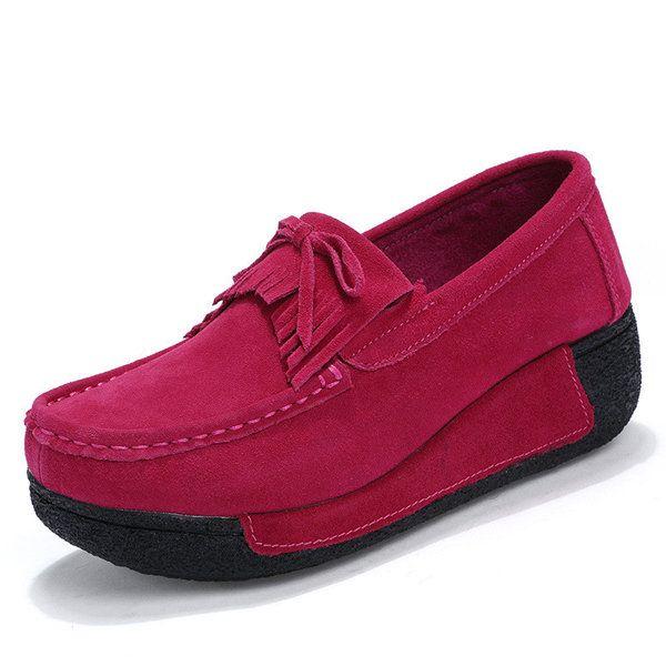 Tassel Suede bowknot platform Rocker Sole Alkalmi cipő