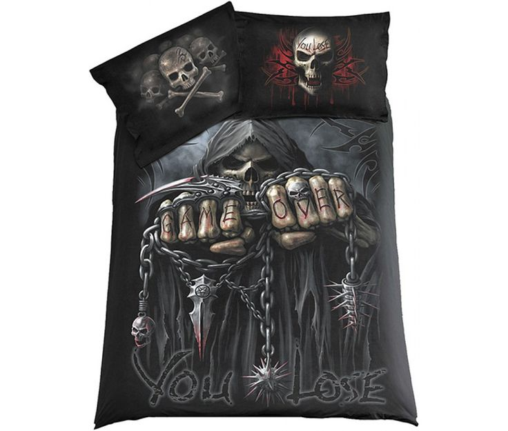 gothic comforter sets | Accueil / Game over - Housse de couette gothique squelette - 200x200