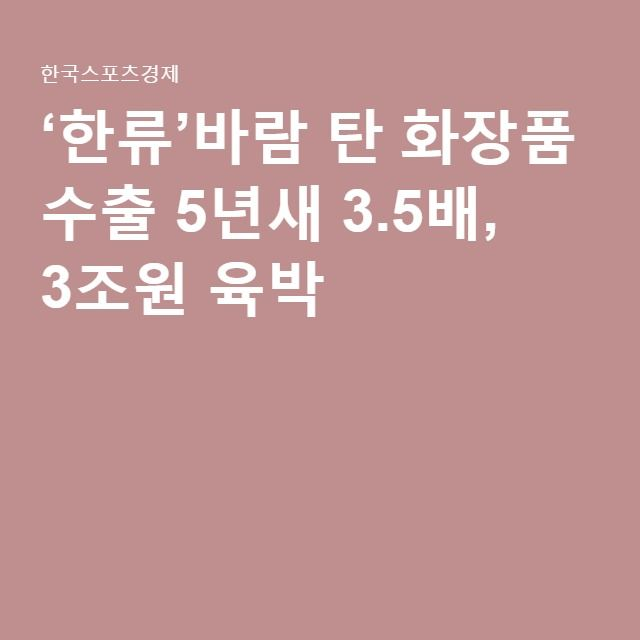 '한류'바람 탄 화장품 수출 5년새 3.5배, 3조원 육박
