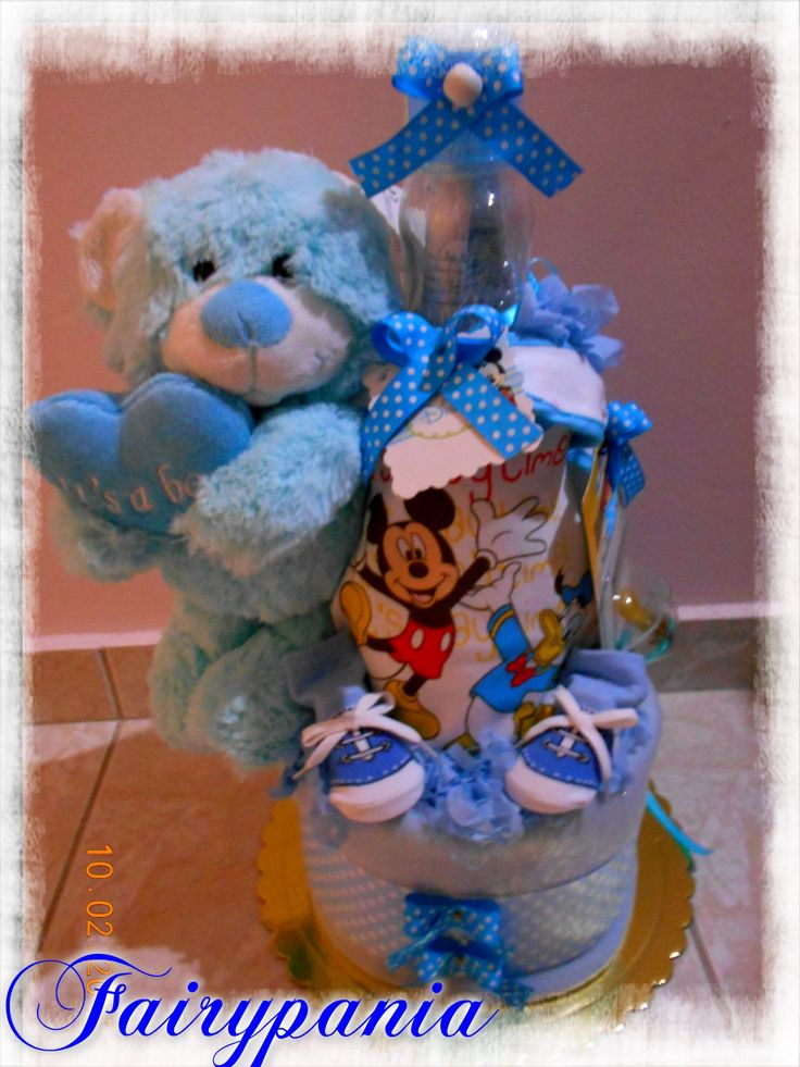 new born diaper cake blue teddy bear different