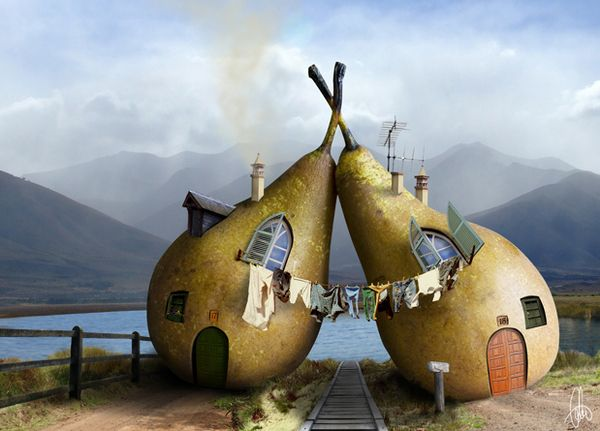 Manipulating food by Cristal Reza, via Behance: Twin, Diet Food, Natural Building, Photo Manipulation, Digital Art, Photomanipul, Funny Photo, Pears House, Sweet Home