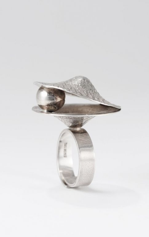 Elis Kauppi for Kupittaan Kulta, vintage silver ring, 1970's. #Finland   NordlingsAntik.com