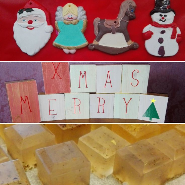 Homemade holidays - glycerin soap, painted plaster ornaments, wooden holiday block decoration