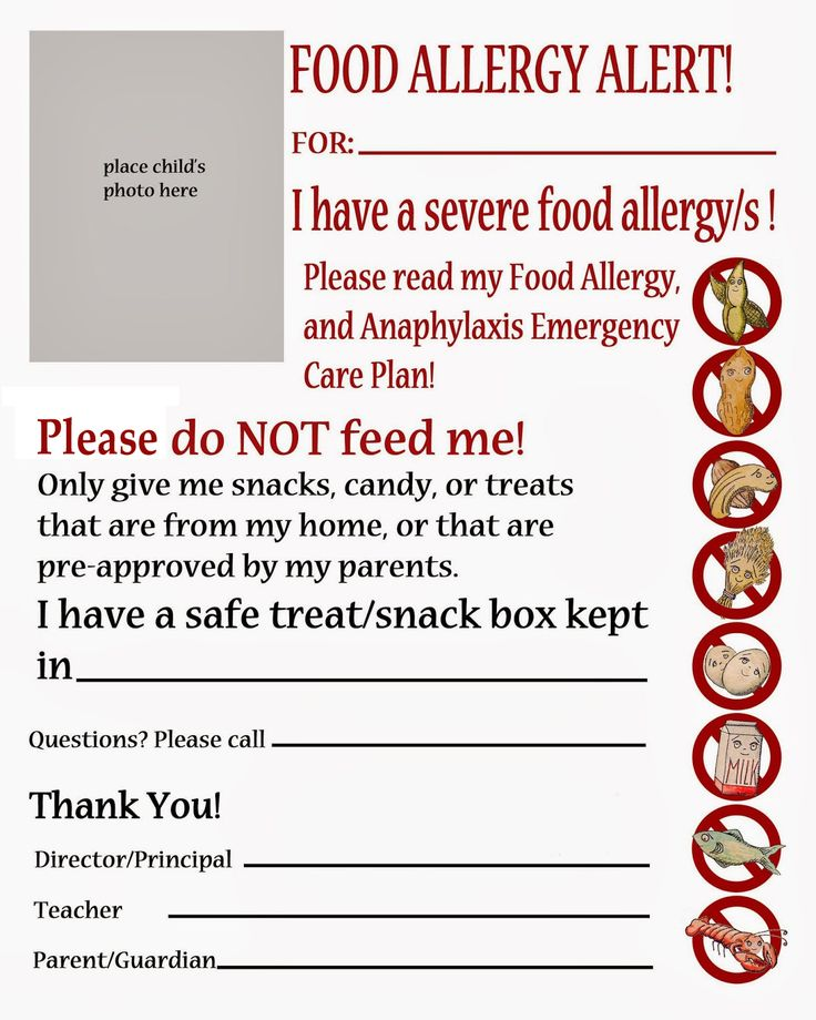Thriving With Allergies: Food Allergy Alert Daycare and School Handout