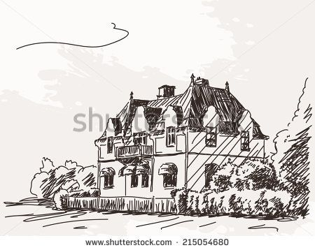 Two floor house, Vector sketch, Hand drawn illustration