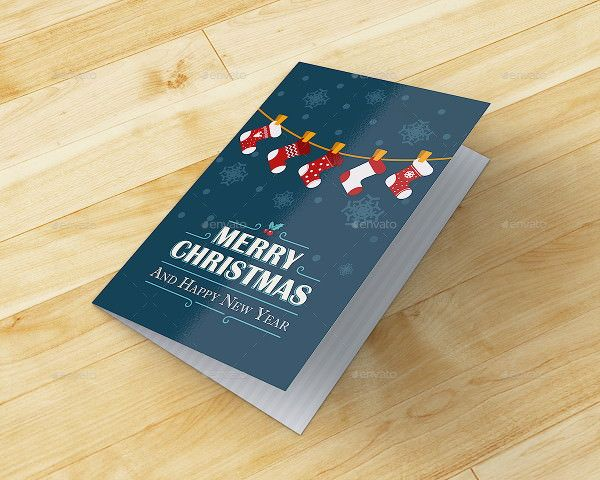 Christmas And Happy New Year Greeting Card Mockup Jul