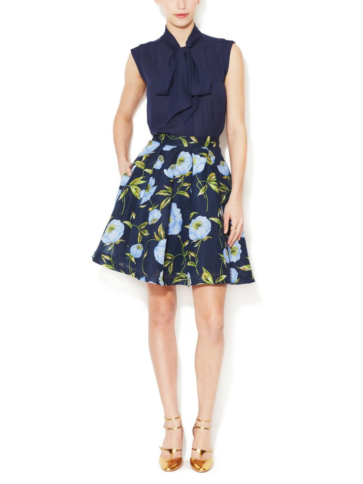 Spring Bloom Linen A-Line Skirt, Katherine Plains Blouse by French Connection at Gilt