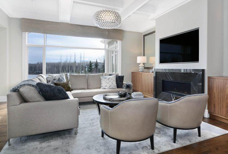 Contemporary Lakehouse Living Room by Johnson & Associates Interior Design