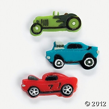 Race Car Gummies as cupcake toppers