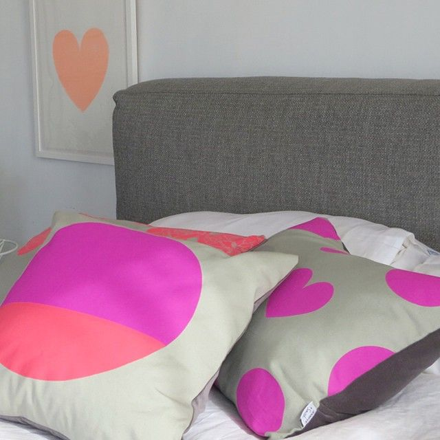 Jennifer + Smith   Magenta/Rose Circle Cushion   Magenta Shapes Cushion   Peach Heart Screenprint   www.jenniferandsmith.com